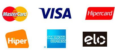 Aceitamos Visa, Mastercard, Elo, Hipercard, American Express e Hiper.